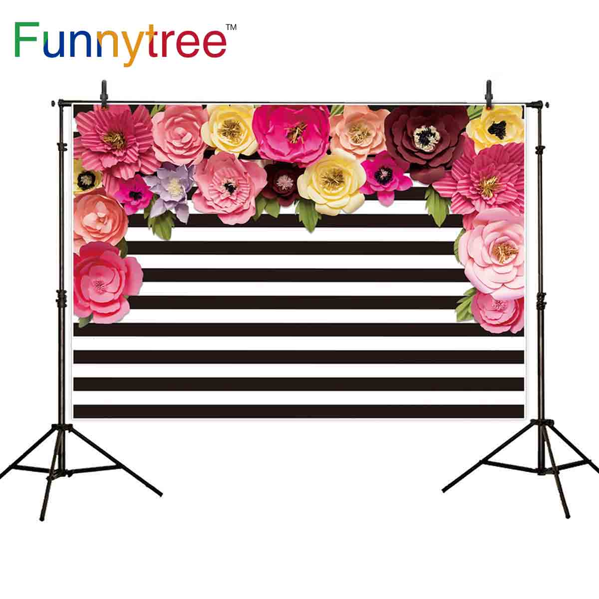 Funnytree fondo fotográfico negro blanco tiras de papel flor princesa telón de fondo sesión fotográfica photocall photobooth prop