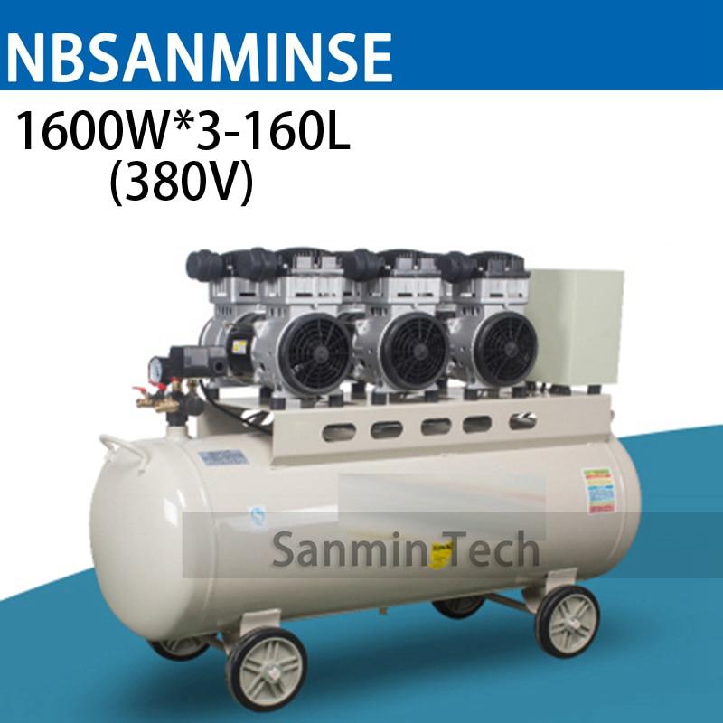 1600WX3-160L Mini compresor de aire sin aceite de alta presión Mute diseño de trabajo de madera Home aplicación AC220V AC380V Sanmin