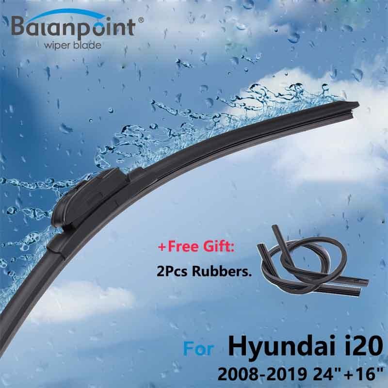 """2 piezas limpiaparabrisas + 2 piezas de condones para Hyundai i20 2008-2019 24 """"+ 16"""" ¡limpia el parabrisas delantero"""