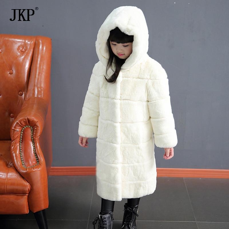 Winter Children Fur Coats Real Rex Rabbit Fur Jacket Boys Girls Warm Hooded Fur Outerwear Kids Thicken Down Jacket