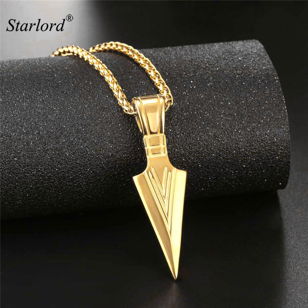 Starlord flecha colgante collar de oro/plata/negro Acero inoxidable Warriors Arrow Punk/Hiphop joyería para hombres GP2536