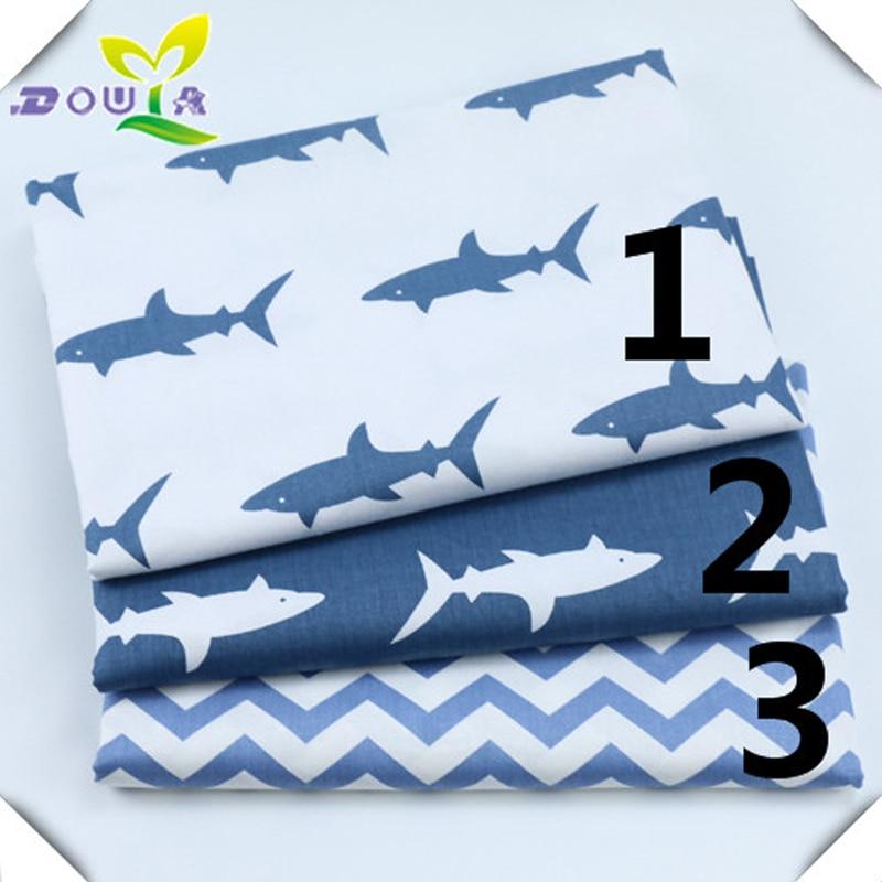 Cartoon blau sharks printcloth baumwolle kissen kissen bettwäsche tuch baumwolle stoff in kinder