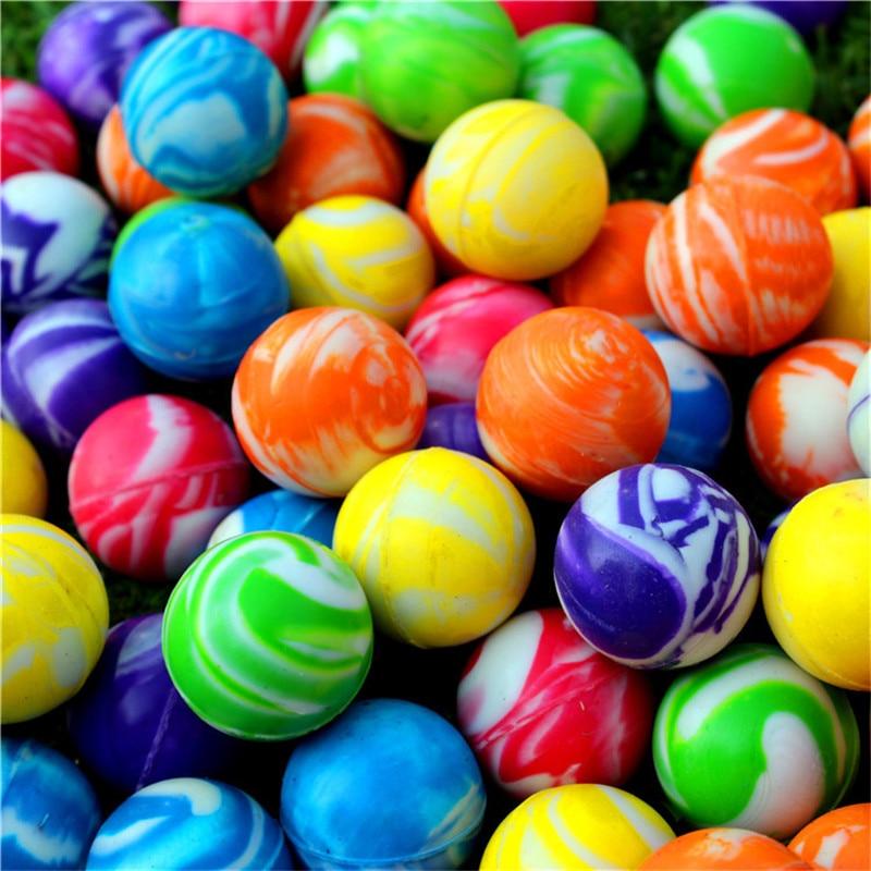 Забавная игрушка, 20 шт./30 шт./50 шт./80 шт./100 шт., цветной шарик с прыгающим ободком 32 мм, Детский Эластичный резиновый шарик для надувной игрушки