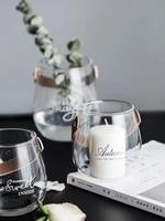 nordic leather handle glass vase flower home multi function decorative storage bottle glass jar