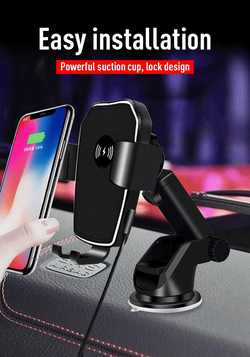 Montaje de cargador inalámbrico de gravedad para coche IPhone Samsung, soporte de ventosa de carga rápida, soporte de teléfono para coche, accesorios interiores para coche