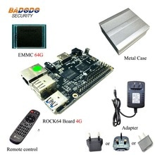 ROCK64 PINE64 HDR Android Linux Debian Media development Board + 1 gb/2 gb/4 gb LPDDR3 + 16/32/64 gb EMMC + Metall fall + 5 v 3A AC Adapter