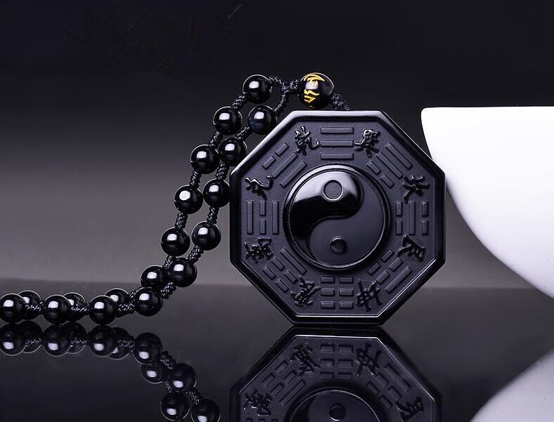 Новый черный обсидиан, натуральный камень, резной китайский баua, подвеска, ожерелье с бусинами, цепь, тайцзи Инь Ян, амулет, ювелирных изделий, подарок