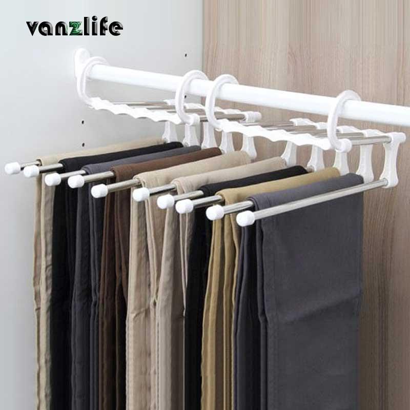 Вешалки для штанов vanzlife, многослойные вешалки из нержавеющей стали, выдвижной шкаф для хранения штанов