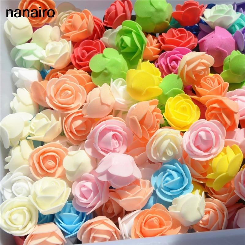 50pcs/ Bag Multicolor Mini PE Foam Rose Head Artificial Handmade Rose Head DIY Wedding Home Decoration Festival Party supplies