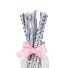 25 unids/lote de pajitas de papel iridiscentes de arcoíris de perlas para niños, Decoración de cumpleaños, boda, despedida de soltera, pajitas de papel para beber DIY