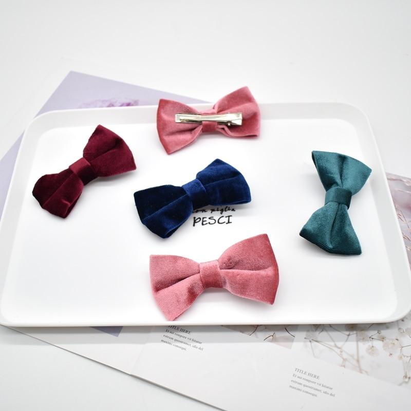 Autumn and winter velvet Bow Hair Clip for Women Elegant Korean Design Snap Barrette Stick Hairpin Hair Styling Accessories