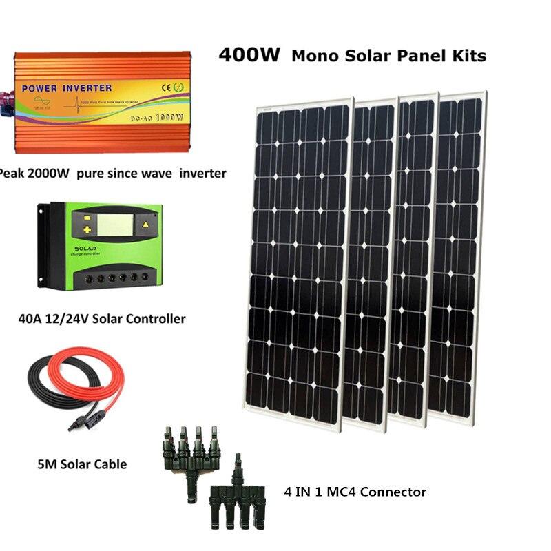 4 قطعة 100W أحادية الشمسية لوحة وحدة مع الذروة 2000W العاكس و 40A تحكم Houseuse كاملة 400W الشمسية نظام كيت