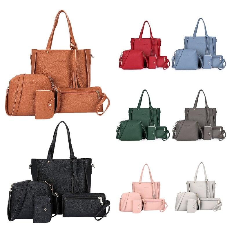 2020 bolso de hombro de cuero de PU de moda para mujer + bolso Casual + bolso de señora + monedero de tarjeta bolso de mensajero 4 unids/set