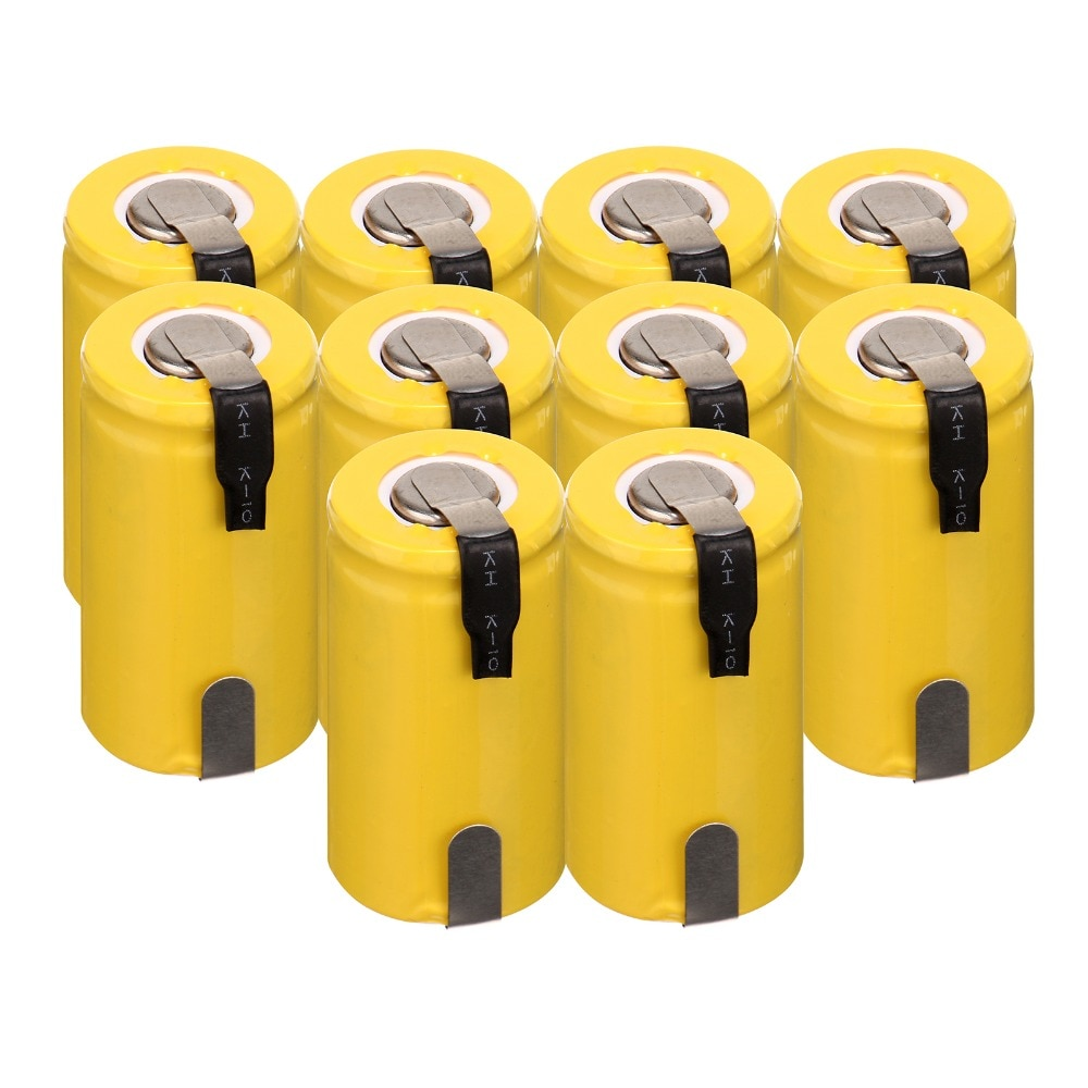 2/4/6/8/10 Uds potencia anmas 1,2 V 1300mAh YellowNiCd Sub C SC batería recargable con pestaña