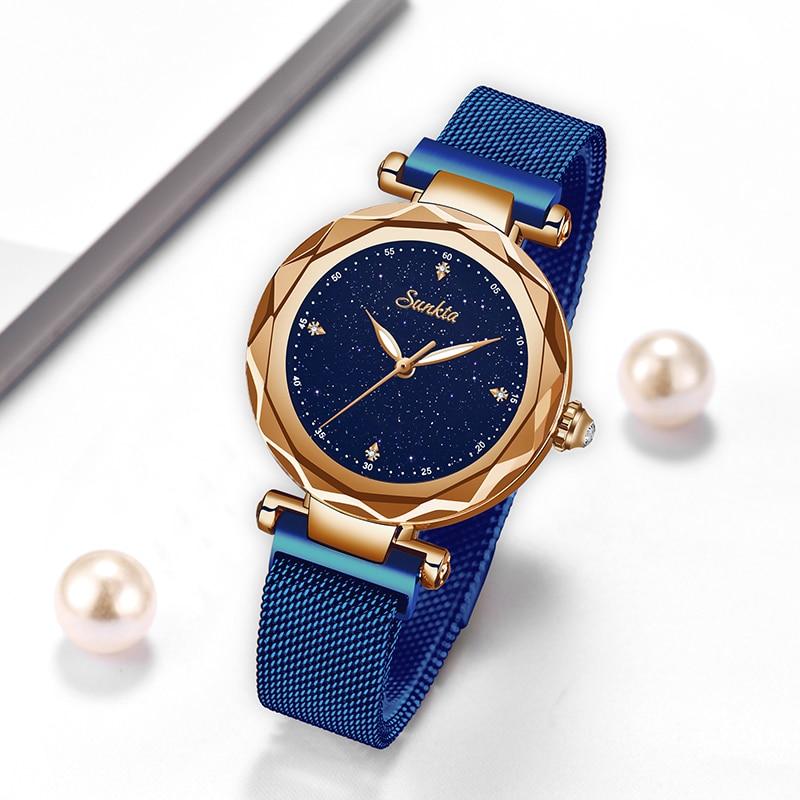 2021 Womens Watches SUNKTA Top Brand Luxury Women Fashion Casual All Steel Ultra-Thin Mesh Belt Quartz Clock Relogio Feminino enlarge