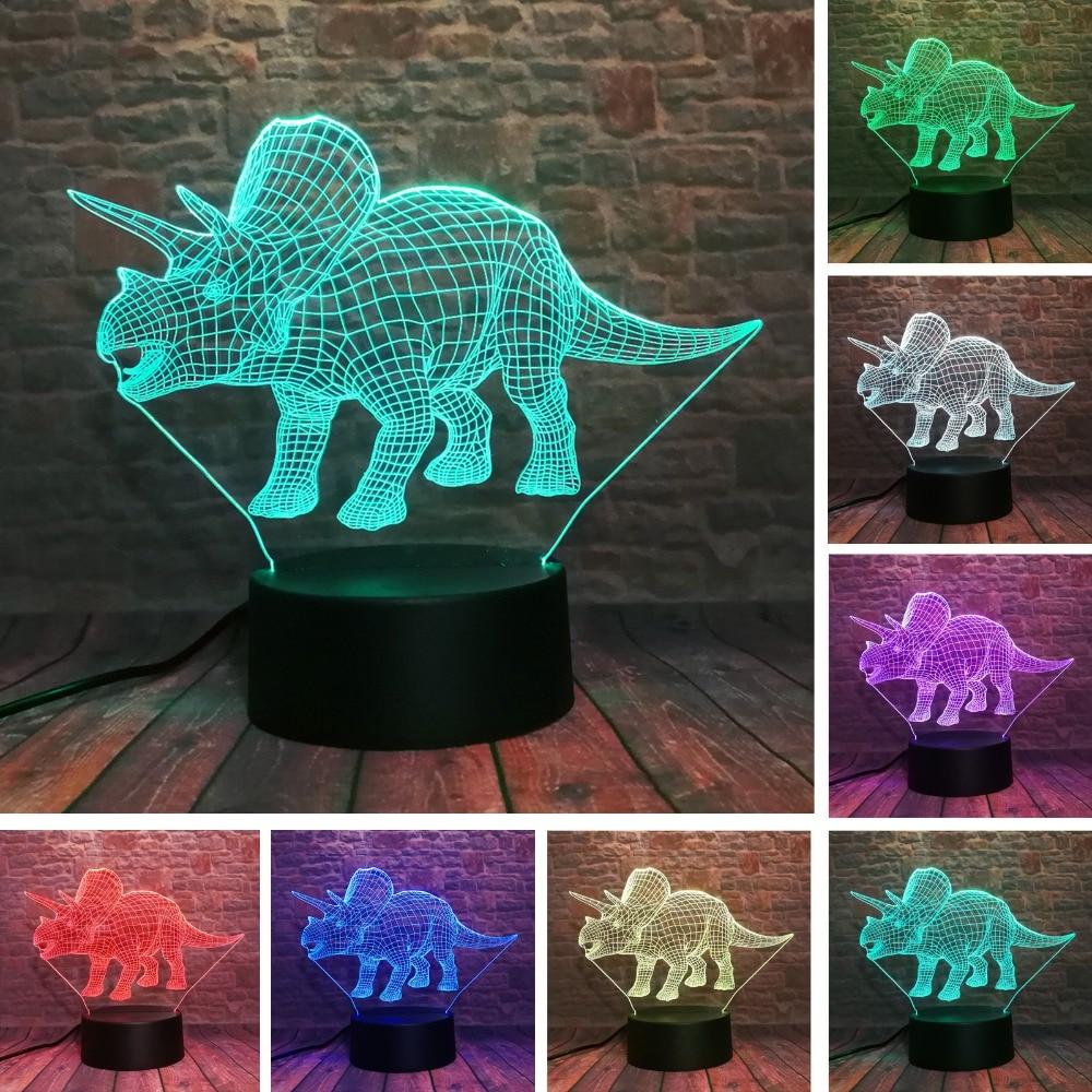 Lámpara de ilusión 3D de dinosaurio Triceratops, luz LED de noche de...