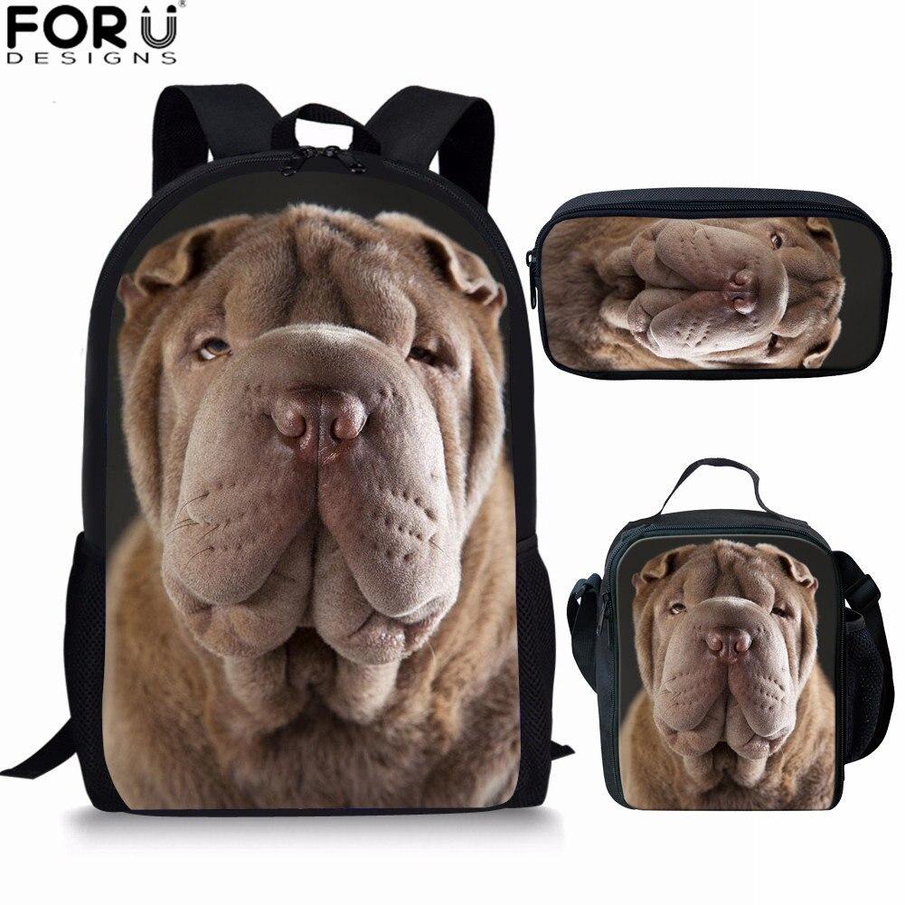 FORUDESIGNS, conjunto de bolsa de escuela con estampado 3D de SharPei Dog para adolescentes, niñas, niños de 16 pulgadas, mochilas escolares divertidas para niños
