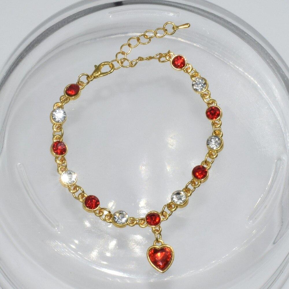 8 Colors Wholesale Fashion Jewelry Gold Plated Women Czech Drill Bracelet Drip Seven Colorful Heart Pendant Bracelet