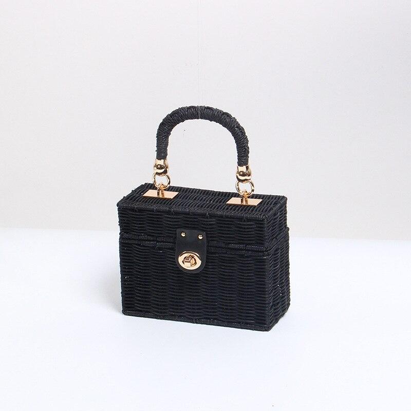 Bolso de paja forma cuadrada caja negra bolsos de ratán bolso de playa teléfono hombro inclinado Span mujeres bolsos decoración de Metal