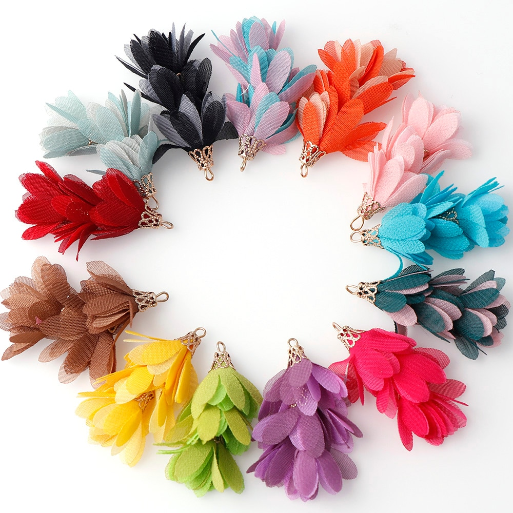 10pcs Mix Color Silk Satin Fabric Flower Tassel Charms 52mm Flower Tassel For Jewelry DIY Keychain Cellphone Straps Jewelry