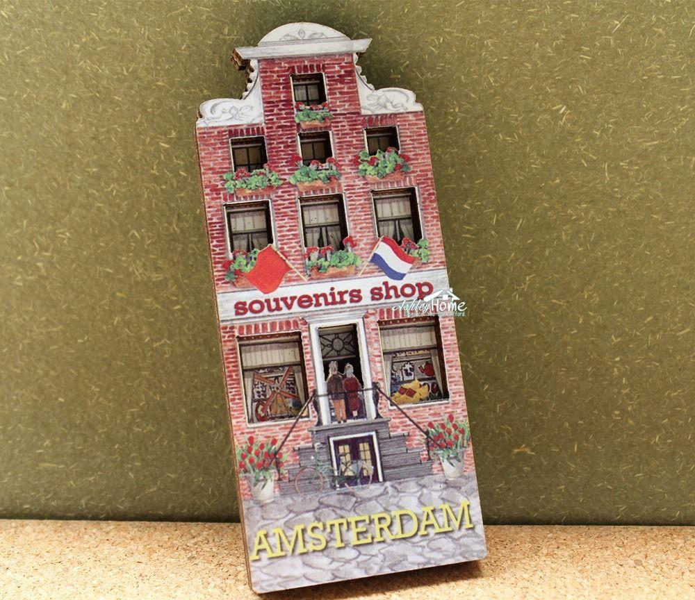 Holland Niederlande Amsterdam Souvenirs Shop Holz Kühlschrankmagnet Handwerk Reise GESCHENK IDEE