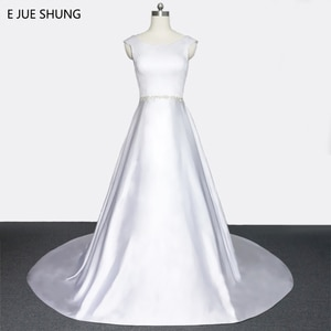 E JUE SHUNG White Satin Crystals Cap Sleeves Wedding Dresses 2018 Lace Up back Crystals Sash Bridal Gowns vestidos de novia