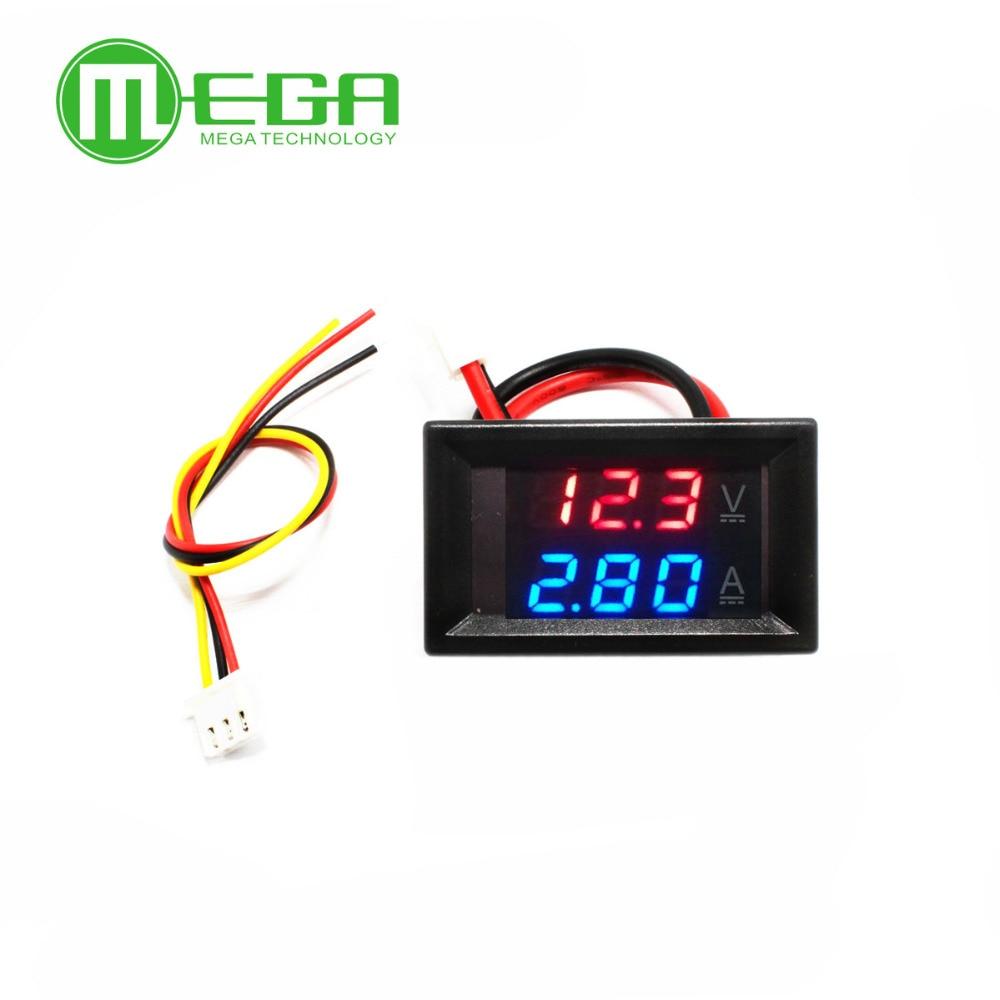 "0,28 ""CC 0-100V 10A voltímetro Digital amperímetro rojo azul LED pantalla Dual"