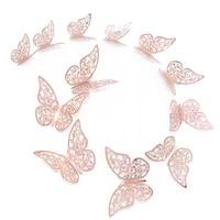 Autocollants muraux 3D creux en papier papillon   3 tailles  en argent et or  ensemble de 12 pieces dautocollants pour refrigerateur  decor pour fete et mariage bricolage a la maison