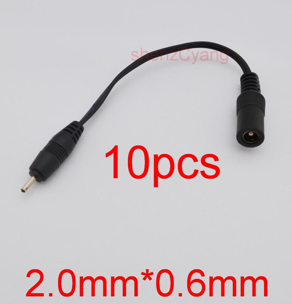 10 Uds cable de alimentación hembra 5,5mm x 2,1mm enchufe macho 2,0mm x 0,6mm adaptador de enchufe de cobre completamente nuevo