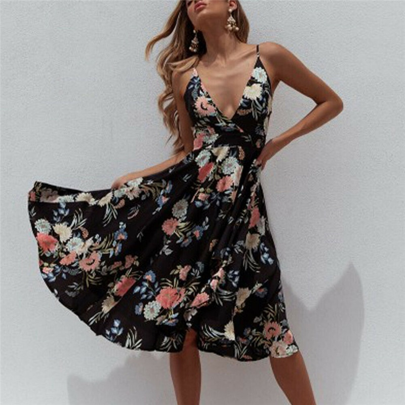 Floral Print Summer Beach Dress Women V-Neck Ruffle A-Line Mini Dress Elegant Spaghetti Strap Sundress Vestido Women Cover Ups
