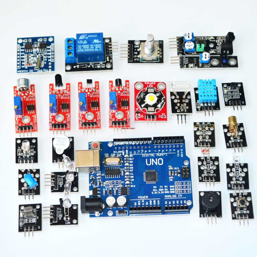 ! sensor suit sensor module kit 24 entry-level sensor include development board UNO R3 for aduino