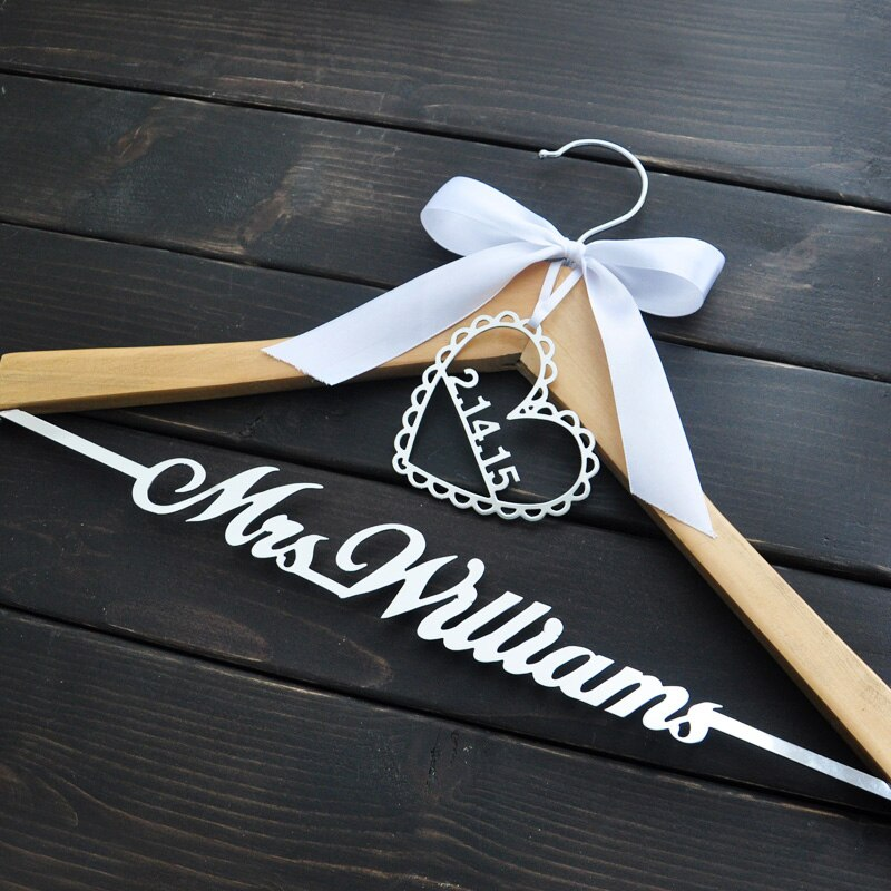 Personalized Wedding Hanger Bride Hanger Groom Bridesmaid Gift Name Hanger With Bow Wedding Gifts Br