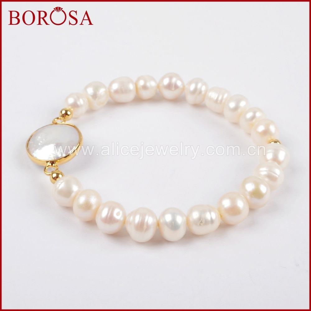 BOROSA, hecha a mano, elegante, recién llegado, pulsera de perlas de Color dorado Natural para mujeres, chicas, joyería de gemas a la moda G1407