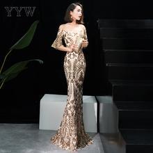 Altın çiçek pullu kapalı omuz Flare kol lüks parti elbise kadınlar uzun seksi örgün abiye giyim 2019 zarif Bodycon elbise