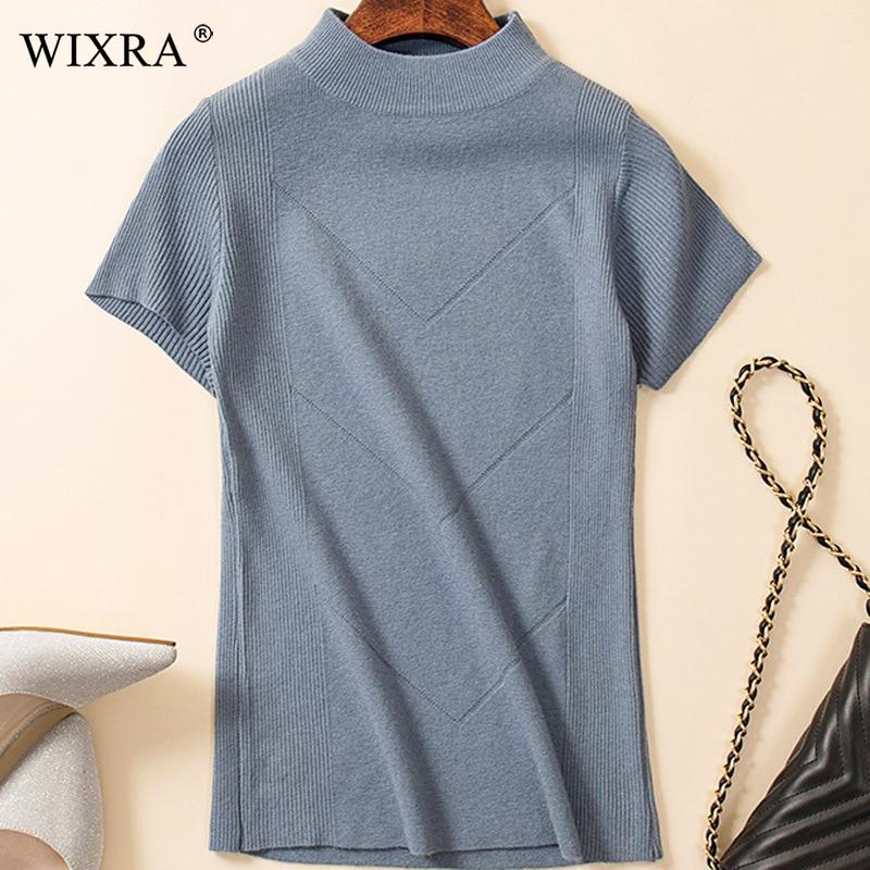 Свитер Wixra женский вязаный с высоким воротником и коротким рукавом