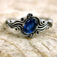 Offre spéciale Vintage bleu/vert Zircon bague de fiançailles pour femmes dames mode Simple anneaux de mariage Thai argent couleur bijoux cadeaux