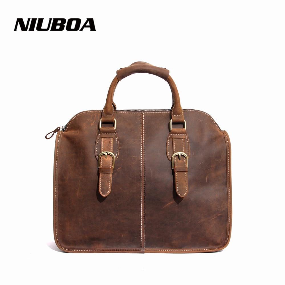 NIUBOA bolsos de hombro de cuero genuino 100% bolso de mano de cuero Vintage bolsos de cuero de vaca de mujer bolso de mensajero de cuero de Caballo Loco