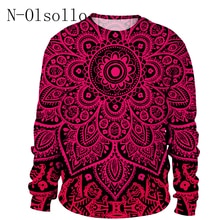 N-olsollo المتناثرة الأحمر ماندالا 3D النساء بلوزات 2018 جديد الأزياء قمم كامل كم M/L/XL /XXL السيدات هوديس اللياقة البدنية Blusas