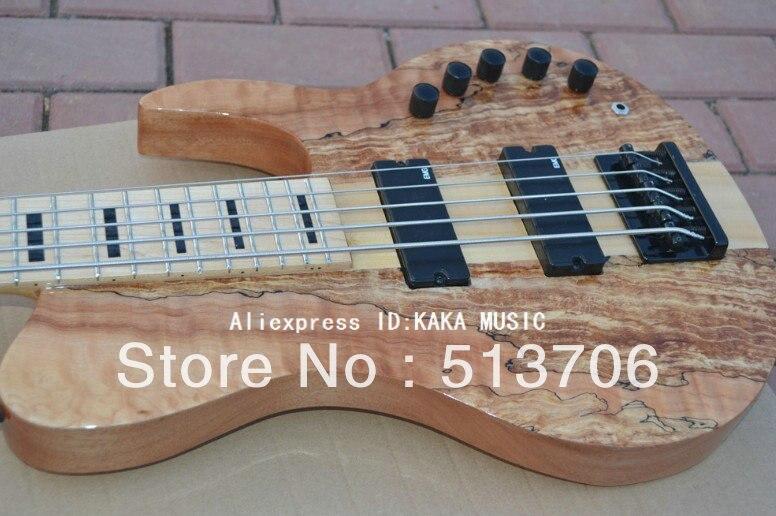 Custom Shop Bass Guitar 5 cordas Electric bass Natural um pedaço do pescoço Frete Grátis