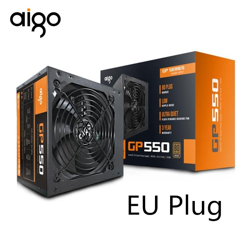Aigo 550W Computer Power Supply ATX mini psu itx 80 plus Bronze EU Plug Active Flex  ITX PC Power 12V supply