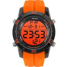 Fashion Watches Men Orange Casual Digital Watches Sports LED Clock Male Automatic Date Watch 1145 Me