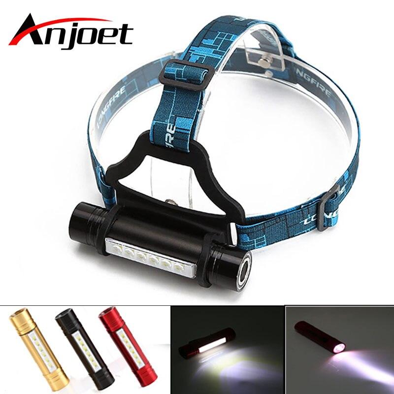 Linterna frontal Anjoet 6 LED + CREE Q5 para acampar al aire libre, impermeable, 3 modos, linterna con banda para la cabeza, 18650 luz LED de lámpara frontal para acampar