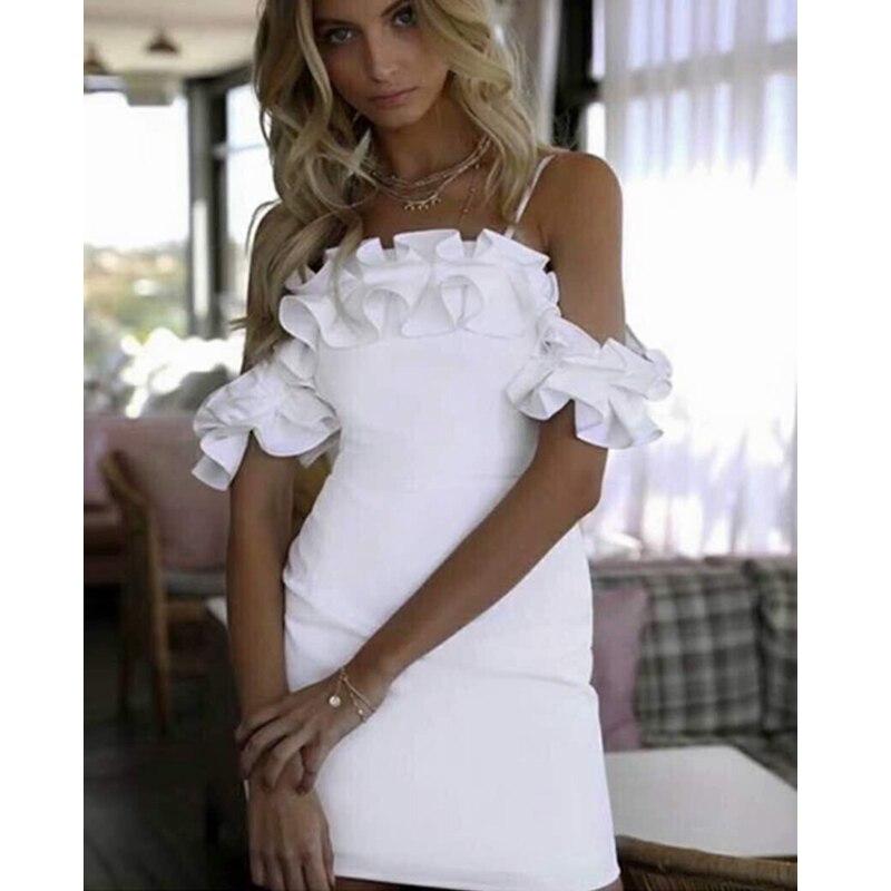 2018 blanco Elegsnt Spaghetti Srap vendaje vestido de hombro sólido Mini Sexy mujeres Bodycon sin mangas Celebrity vestido de fiesta
