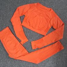 2PCS Yoga Set Frauen Workout Kleidung Flawless Stricken Langarm Hohl-out Mesh Kompression Crop top + Nahtlose yoga Leggings GYM
