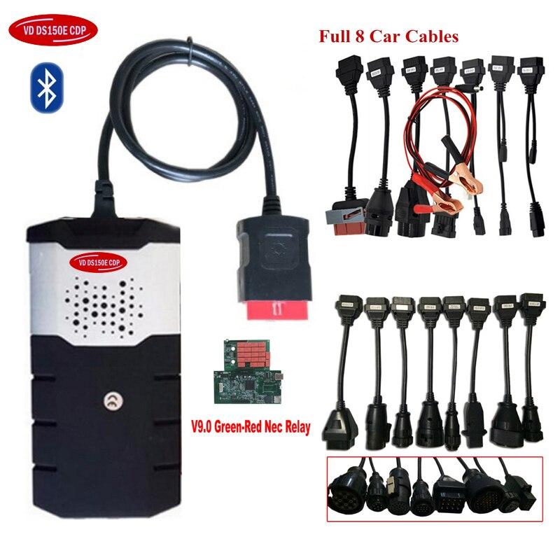Escáner obd 2019 para delphis vd ds150e cdp 2016R0 bluetooth vd tcs cdp obd2 herramienta de diagnóstico con relés + 8 Uds. cables de coche y camión.