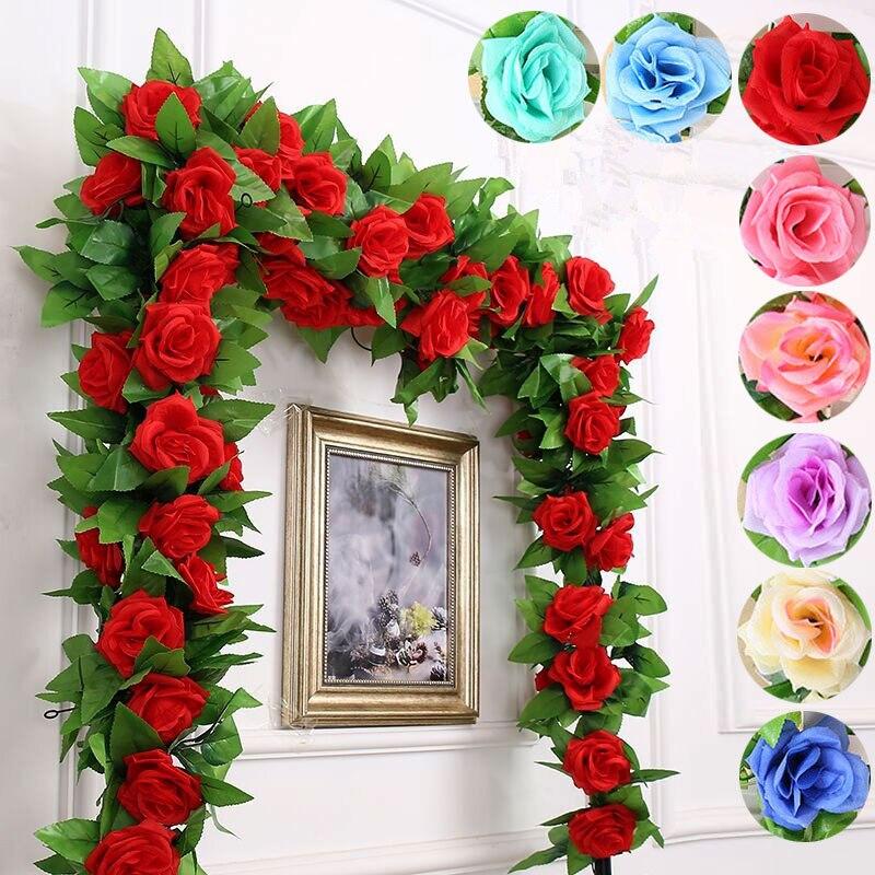 Guirnalda de flores artificiales de 2,5 M seda hiedra vid falsa hojas de vid fiesta en casa decoración de muebles decoración de boda LBShipping