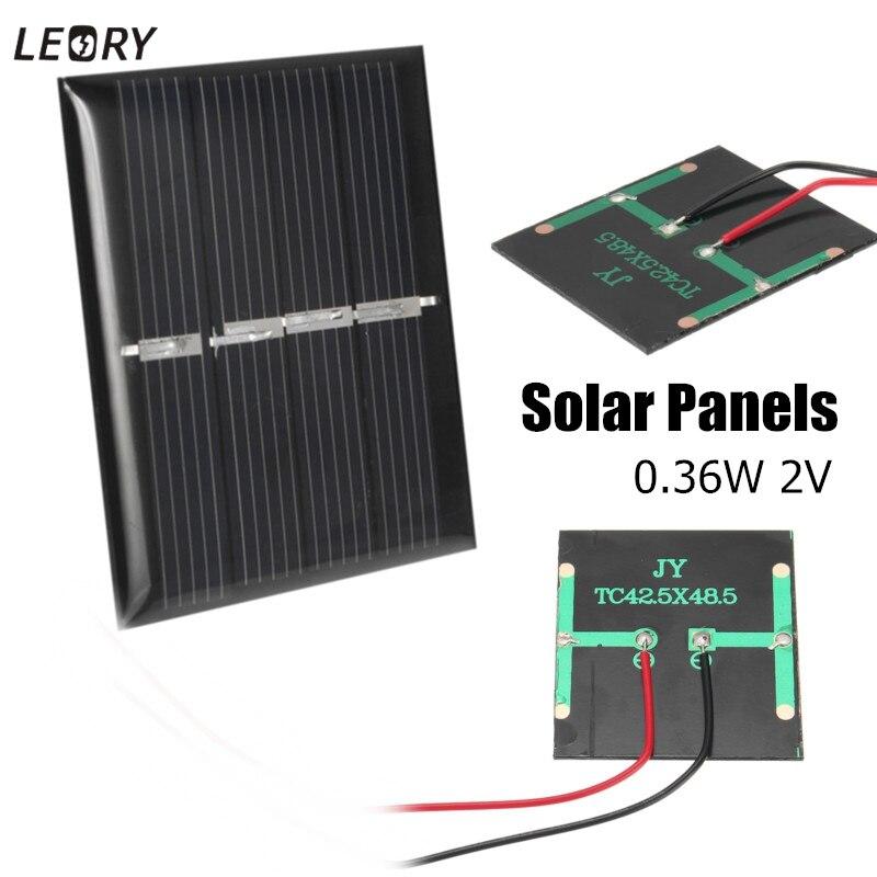 LEORY 2 pcs 0.36 W 2 V מיני Polycrystalline פנלים סולאריים DIY סוללה מטען מודול תאי ערכות עבור 1.2 V סוללה