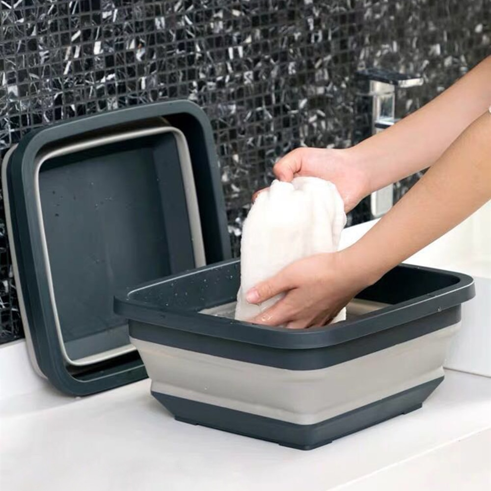 Lavabo plegable portátil, de plástico telescópico para el hogar, bañera de lavandería plegable, organizador de cocina, cuenco de agua para el hogar, bandeja para fruta