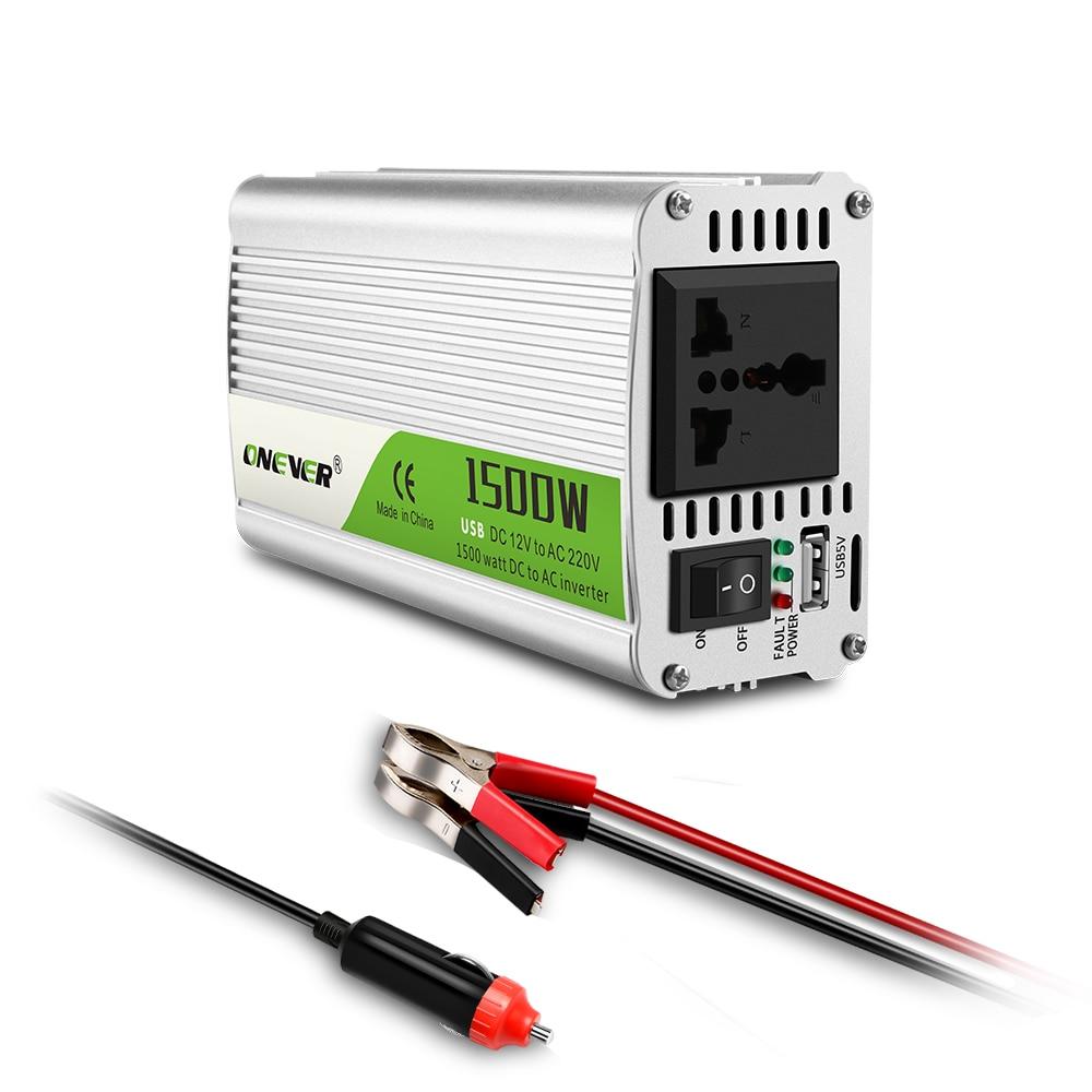 AOZBZ-محول طاقة السيارة ، 1500 واط تيار مستمر 12 فولت إلى 220 فولت تيار متردد ، مع ضوء مؤشر LED ، ولاعة سجائر ، منفذ إنذار