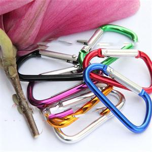 5pcs Climbing Button Carabiner Camping Hiking Hook Outdoor Sports Multi Colors Aluminium Alloy Safety Buckle Keychain